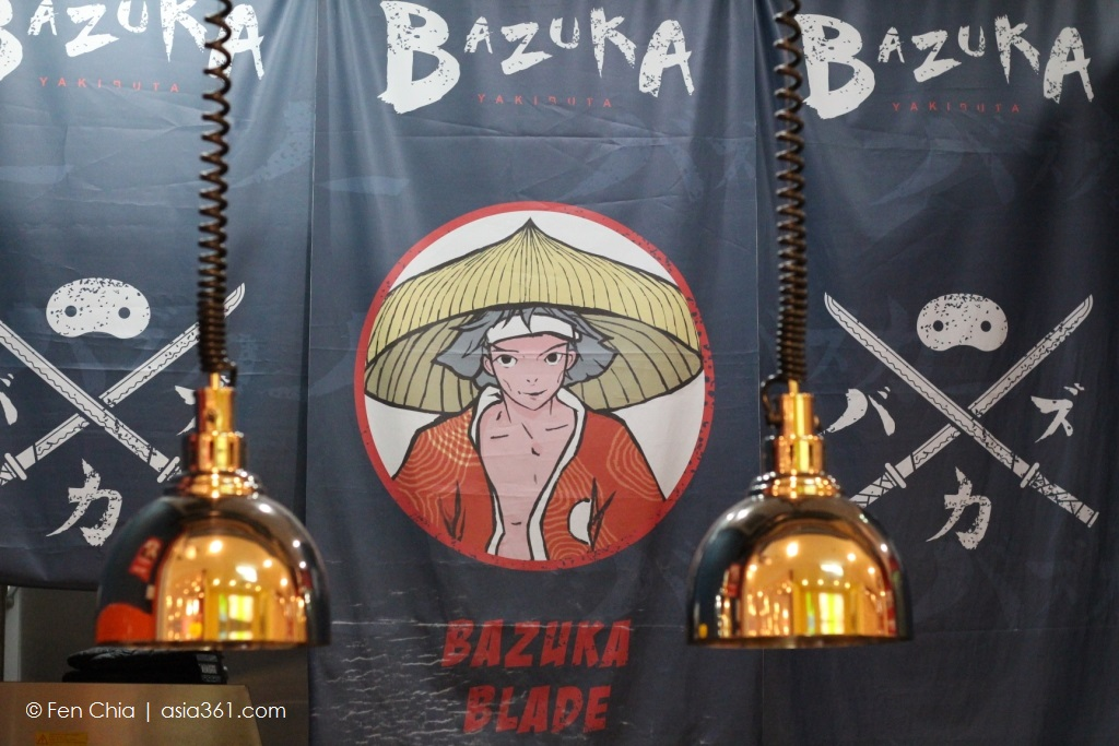 One of Bazuka Yakibuta's  two mascots, Bazuka Blade greets you at the outlet.