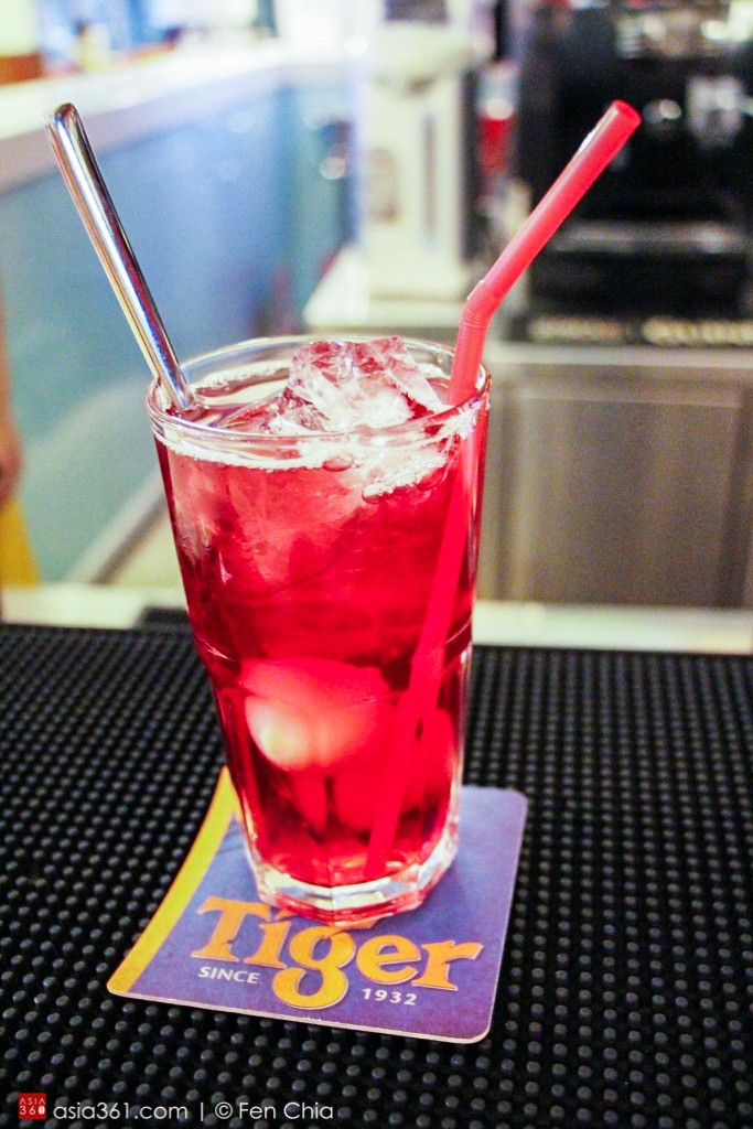 The 'ibis mocktail' is a mix of cranberry juice, sparkling water and lychees.