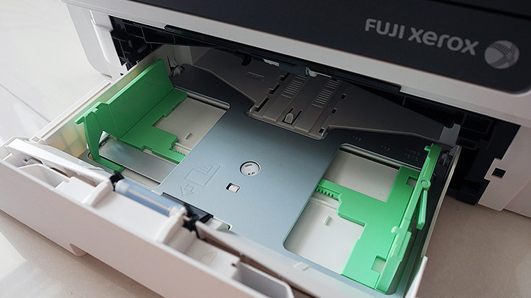 Paper tray and loader for the M265z which allows automated double-sided printing. Photo ©Alvin Lim.