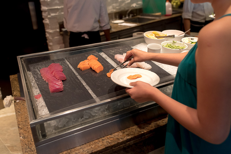 Sashimi during breakfast hour at the Circles Event Café. (Photo: Gel ST)
