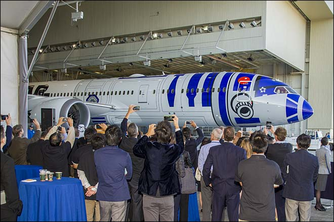 The R2-D2 Dreamliner rolled out in Everett on September 12, 2015. Photos courtesy: Boeing/ANA