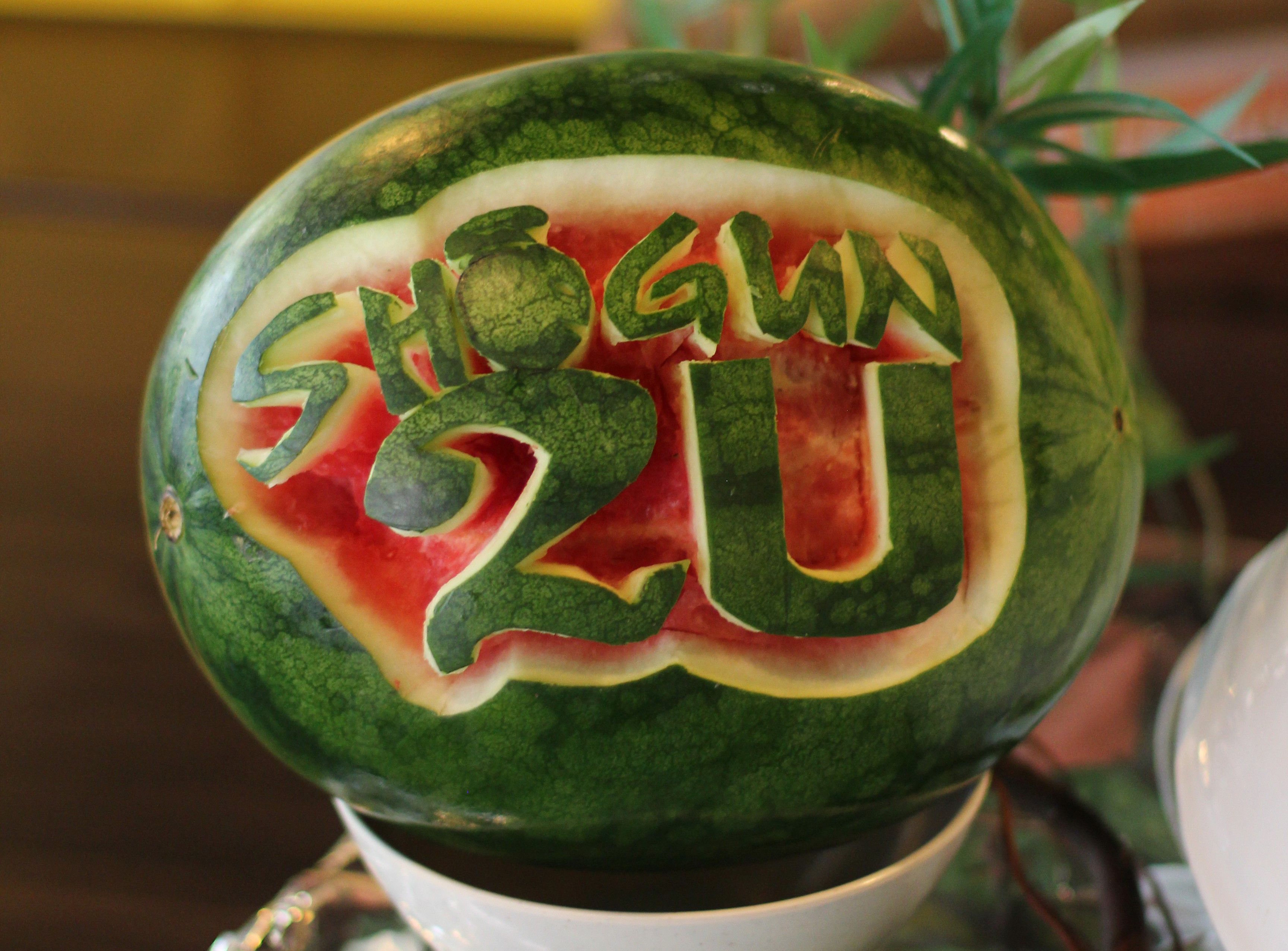 'Shogun2U' carved out on a watermelon. How creative?