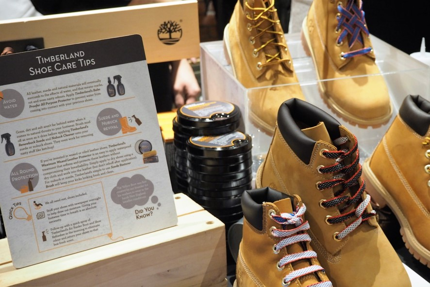 Since Timberland footwear is made with varying leathers, it is recommended that you bring your shoes down for the Specialist to identify the most