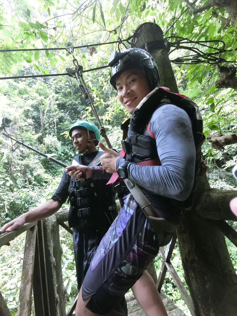 Getting ready to zip line down to the canyon with my FR-100, Ubud, Bali. Photo courtesy of Jaclynn from theoccasionaltraveller.com