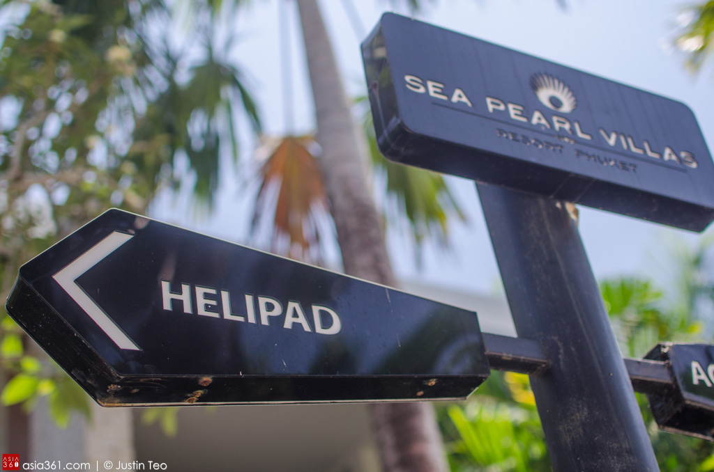 Sign points to the helipad at Wyndham Sea Pearl Resort Phuket.