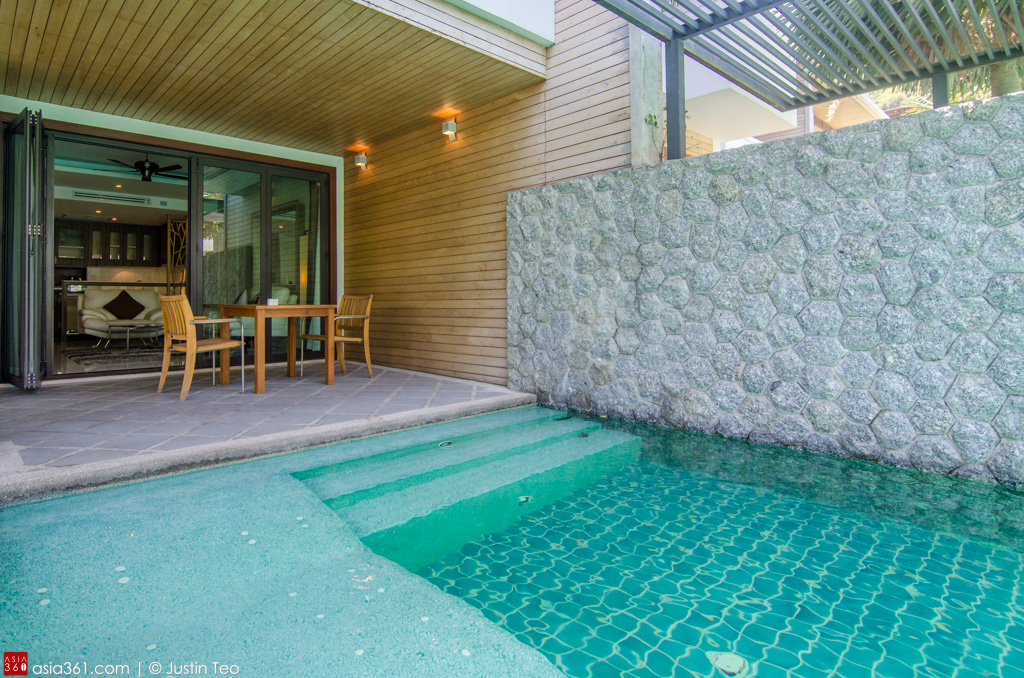 Wade directly into the pool from the living room from one of the Deluxe Pool Access rooms at Wyndham Sea Pearl Resort.