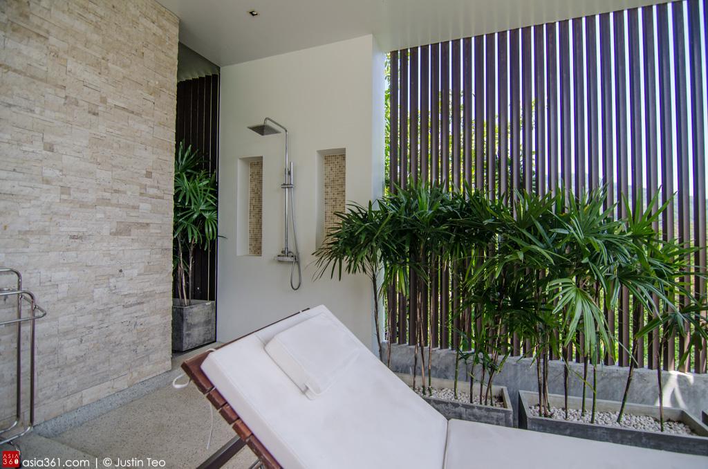 Outdoor shower at the Carissa Pool Villa, overlooking the Andaman sea and Patong Bay.