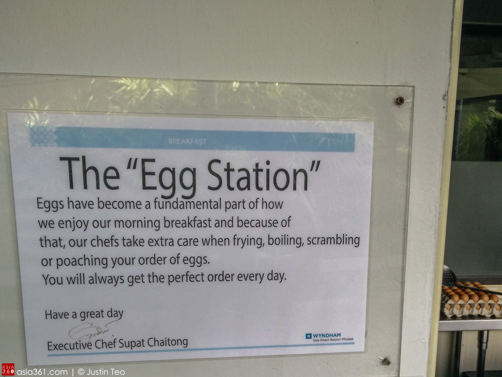 Remember to look for the egg station on the balcony of the Mook Talay restaurant.