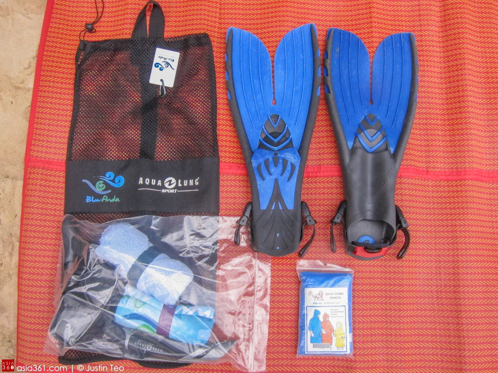 Flippers, snorkel, scarf, towel and raincoat are thoughtfully provided by Blu Anda.