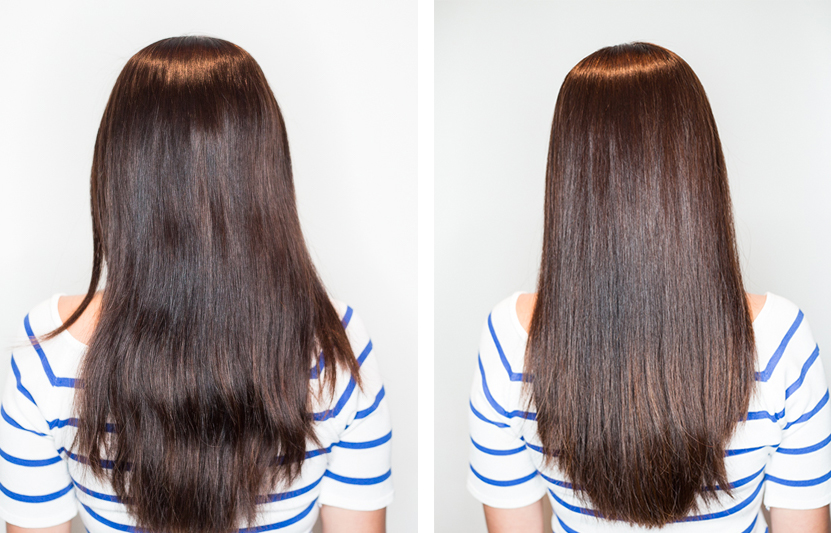 My hair before (left) and after treatment.