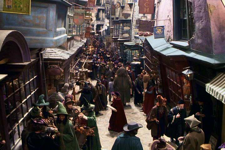 Diagon Alley in Harry Potter. Image: WarnerBros