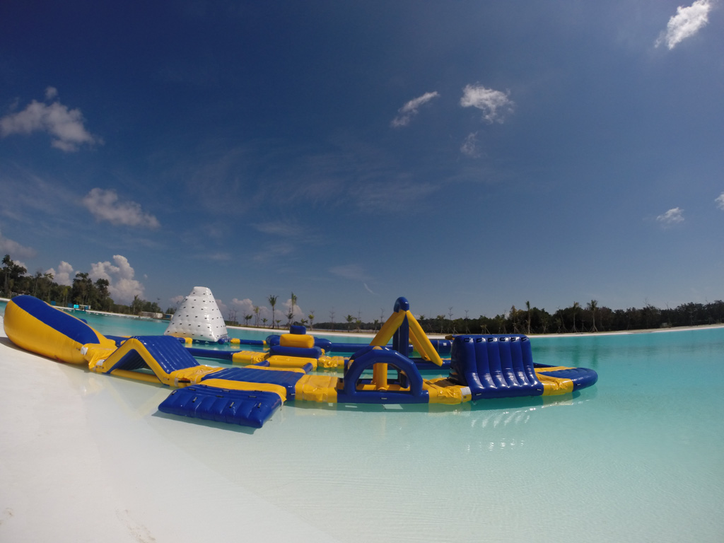 Inflatable water park over the Crystal Lagoon. Photo courtesy of Treasure Bay Bintan.