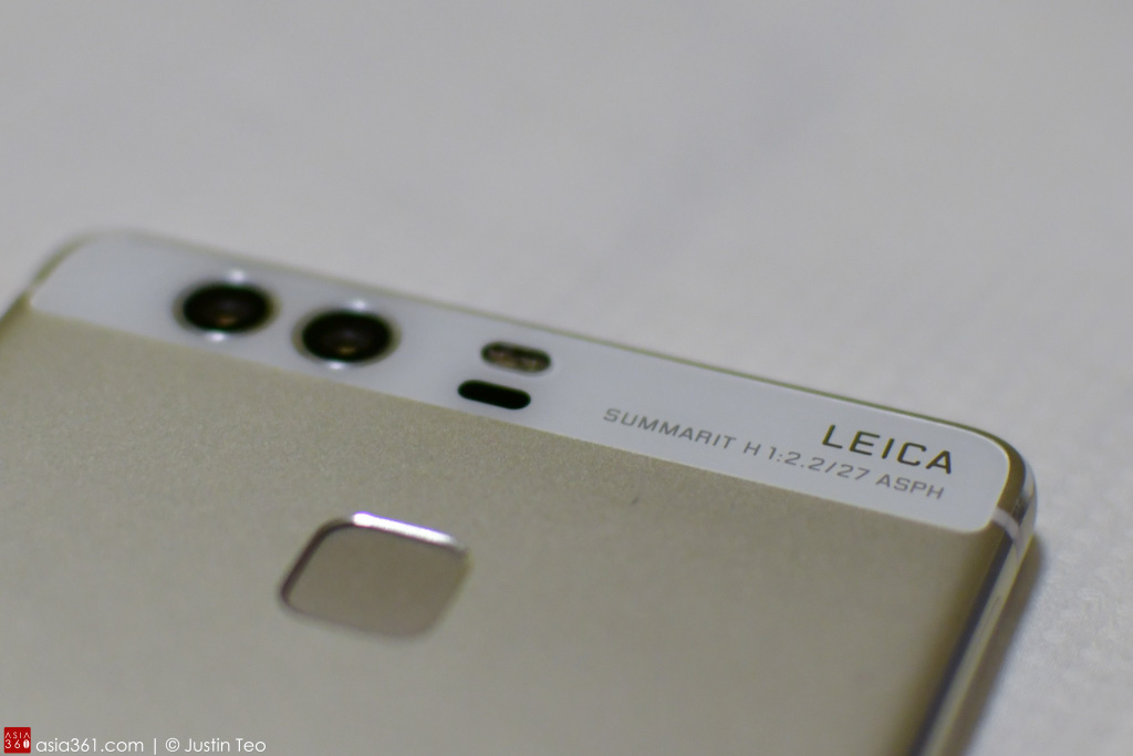 Dual cameras with Leica lenses on the Huawei P9. The dual tone flash and the laser focus sensors are also at the back, together with the fingerprint reader.