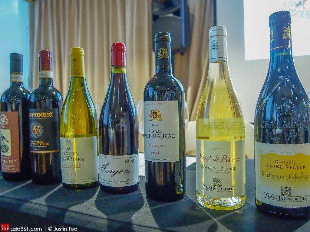 Seven French and Italian labels during the tasting at Mahota Commune's wine masterclass.
