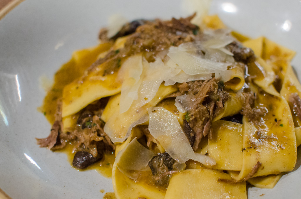 Wild Boar with hand-cut pappardelle, chianti wine, forest mushrooms, tuscan pecorino. AUD$26. Photo © Justin Teo.