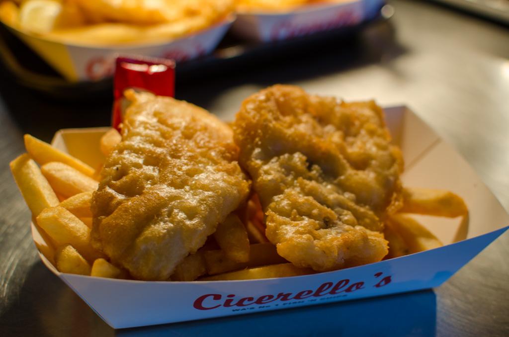 Fish and chips at Cicerello's in Fremantle. Photo © Justin Teo.