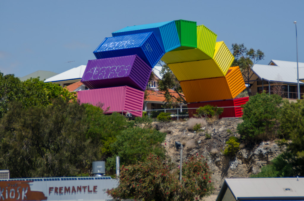 Watch out for the archway formed by these rainbow-colored containers in Fremantle. It's an important port of Western Australia. Photo © Justin Teo.