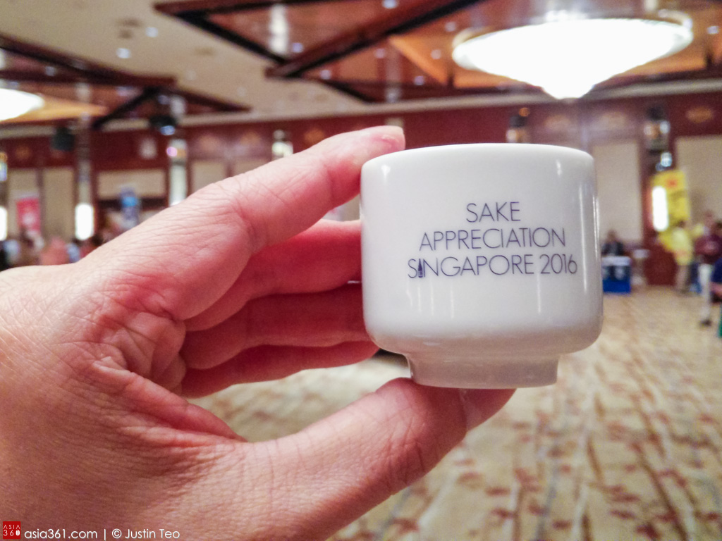 A tiny sake cup to sample the over 100 labels at the Sake Appreciation Singapore 2016.